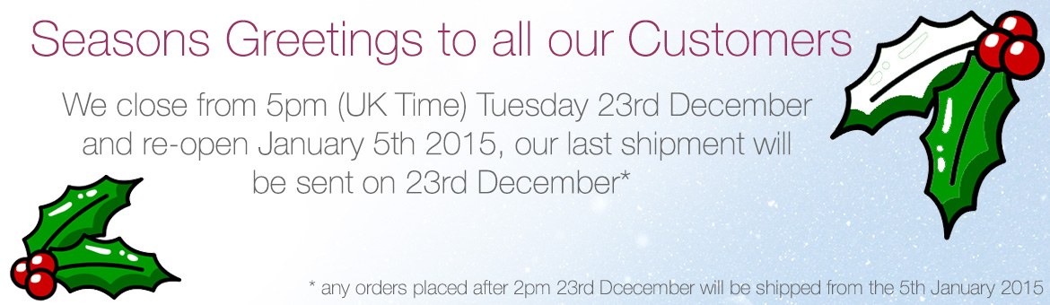 Seasons Greetings - Office is closed 23rd December to 5th January 2015